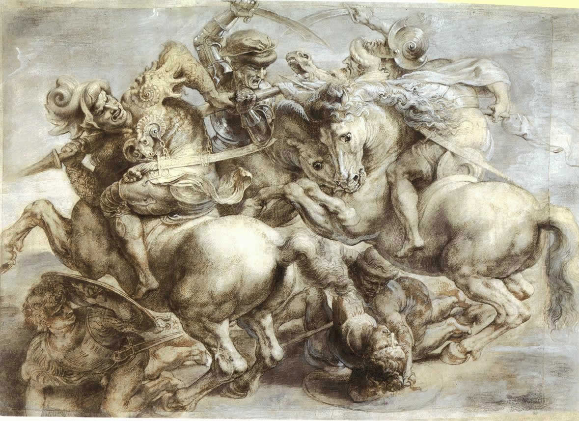 Battle of Anghiari sketch by Reubens